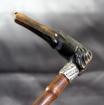 Victorian carved horn greyhound on bamboo shaft
